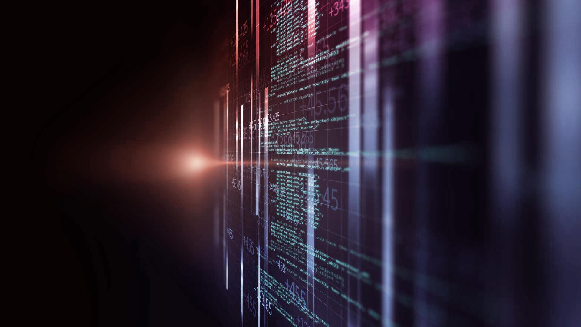 Image of code on Blue and orange background