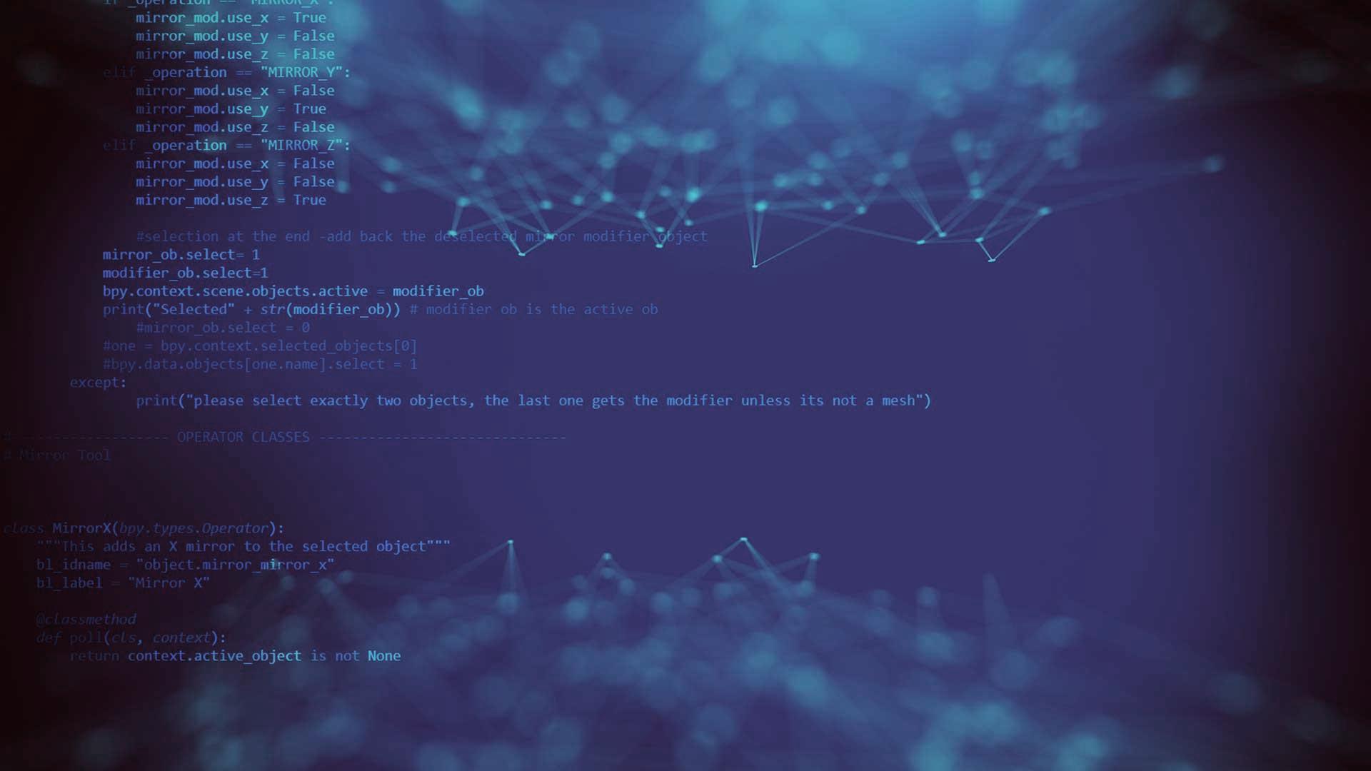 Image of code on blue background
